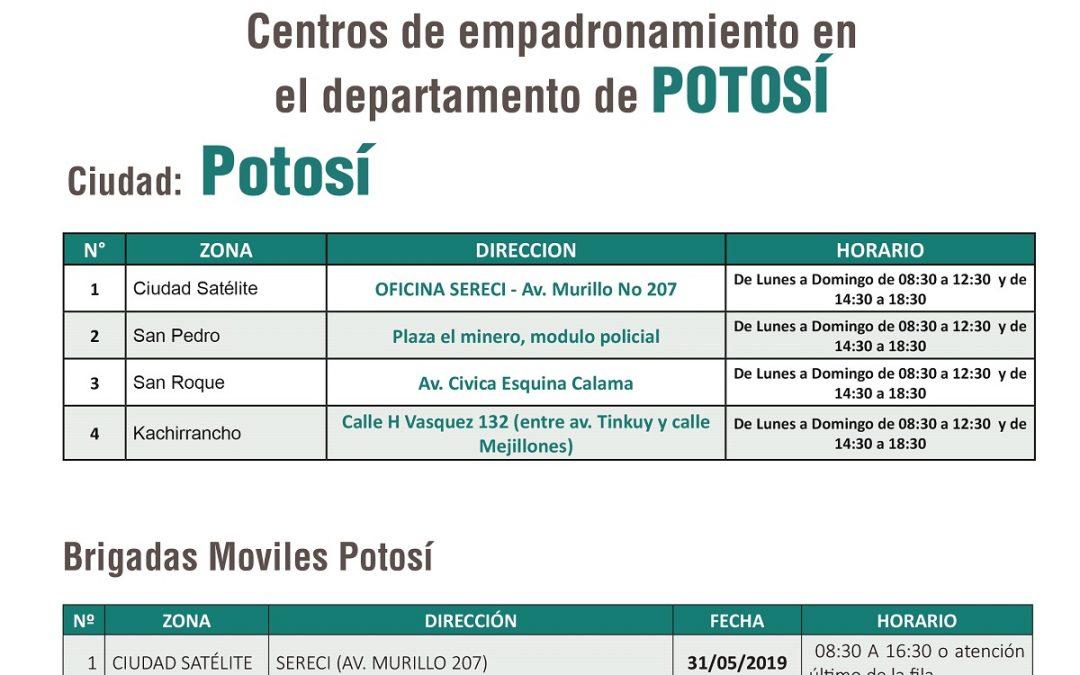 Puntos de empadronamiento fijos y móviles en la ciudad de Potosí